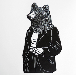 Le-Songeur-ours-linogravure-linographic
