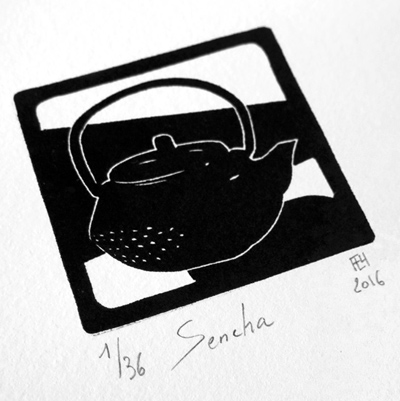 Theiere-teapot-sencha-linocut-linographic